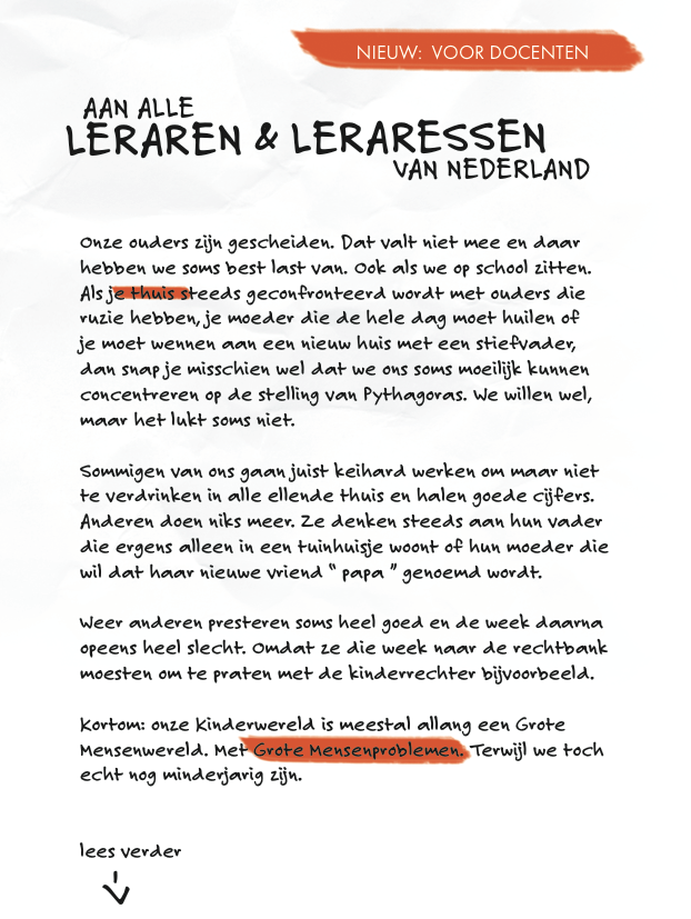 Open Brief aan alle Leraren en Leraressen van Nederland