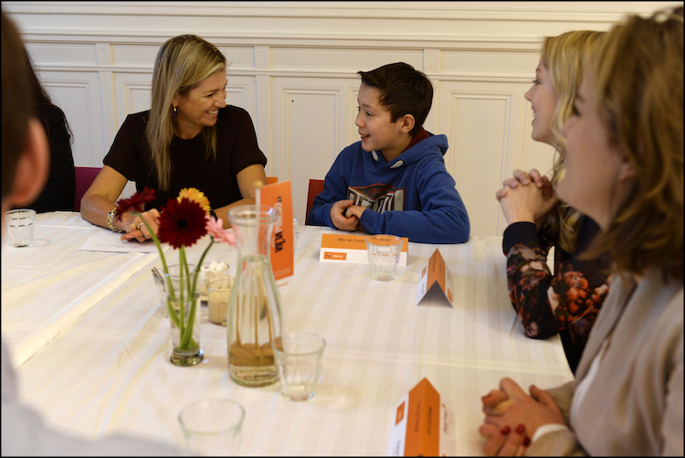 Bezoek HMK Maxima aan Villa Pinedo in den Haag 16 Januari 2014. Tbv Oranje Fonds groeiprogramma. © ORANJE FONDS / BART HOMBURG